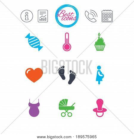 Information, report and calendar signs. Pregnancy, maternity and baby care icons. Candy, baby carriage and pacifier signs. Footprint, cake and thermometer symbols. Classic simple flat web icons