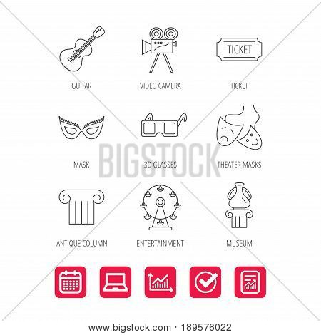 Museum, guitar music and theater masks icons. Ticket, video camera and 3d glasses linear signs. Entertainment, antique column icons. Report document, Graph chart and Calendar signs. Vector