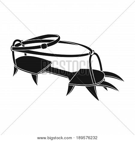 Spikes on the shoes.Mountaineering single icon in black style vector symbol stock illustration . poster