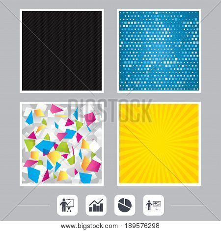 Carbon fiber texture. Yellow flare and abstract backgrounds. Diagram graph Pie chart icon. Presentation billboard symbol. Man standing with pointer sign. Flat design web icons. Vector