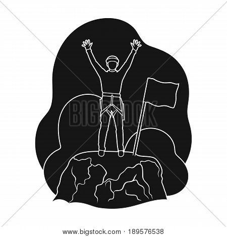 Climber on conquered top.Mountaineering single icon in black style vector symbol stock illustration .