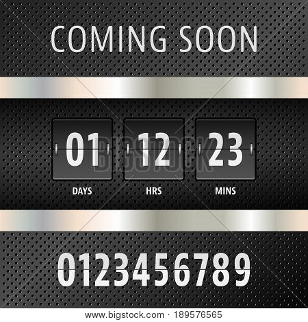 Coming soon countdown timer with days hours and minutes on technology background. Vector illustration.