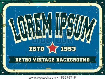Retro metal sign design for vintage background food poster diner restaurant or bar. Vector illustration.
