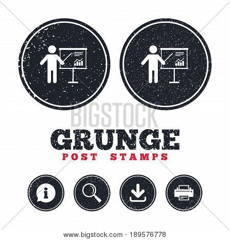 Grunge post stamps. Presentation sign icon. Man standing with pointer. Scheme and Diagram symbol. Information, download and printer signs. Aged texture web buttons. Vector