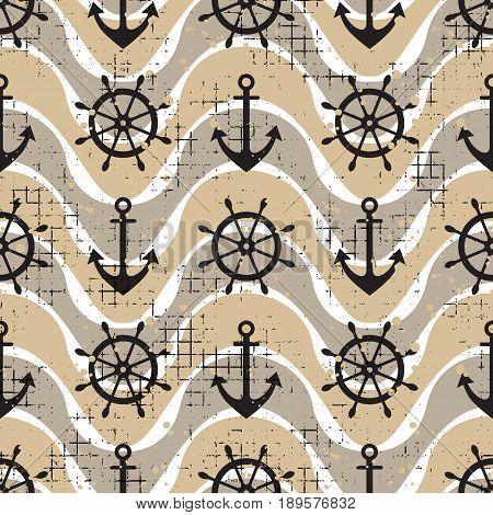 Vector Seamless Pattern Steering Wheel, Life Preserver, Anchor, Waves Creative Geometric Vintage Bac