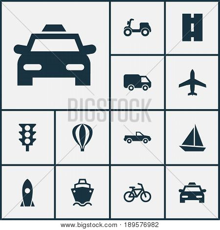Shipment Icons Set. Collection Of Way, Skooter, Truck And Other Elements. Also Includes Symbols Such As Yacht, Cabriolet, Velocipede.