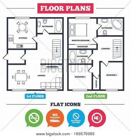 Architecture plan with furniture. House floor plan. Stop smoking and no sound signs. Private territory parking or public access. Cigarette symbol. Speaker volume. Kitchen, lounge and bathroom. Vector