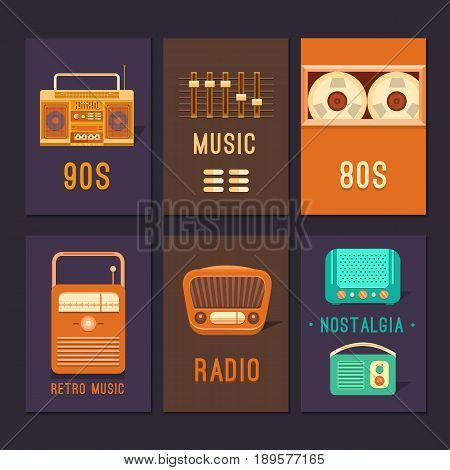 Vintage cards and posters retro music. Templates with retro objects cassette player, radio, tape recorder. Music in the style of the 60s, 70s, 80s, 90s. Use for invitation card, ticket, cover, album.
