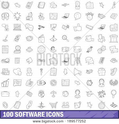 100 software icons set in outline style for any design vector illustration