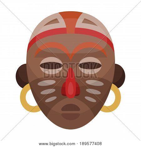 African tribal mask.African safari single icon in cartoon style vector symbol stock illustration .