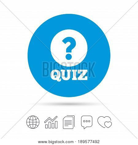 Quiz with question mark sign icon. Questions and answers game symbol. Copy files, chat speech bubble and chart web icons. Vector