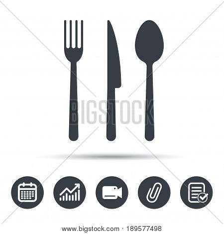 Fork, knife and spoon icons. Cutlery symbol. Calendar, chart and checklist signs. Video camera and attach clip web icons. Vector