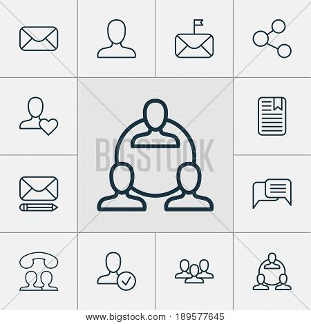 Communication Icons Set. Collection Of Team, Favorite Person, Message And Other Elements. Also Includes Symbols Such As People, Social, Speaking.