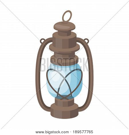 Portable kerosene lamp.African safari single icon in cartoon style vector symbol stock illustration .