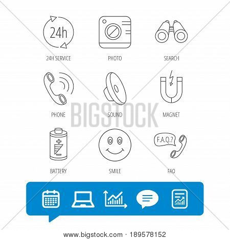 Phone call, battery and faq speech bubble icons. 24h service, photo camera and sound linear signs. Smile and search icons. Report file, Graph chart and Chat speech bubble signs. Vector