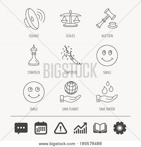 Scales of justice, auction hammer and strategy icons. Save planet and water linear signs. Smile, slapstick icons. Education book, Graph chart and Chat signs. Attention, Calendar and Cogwheel web icons