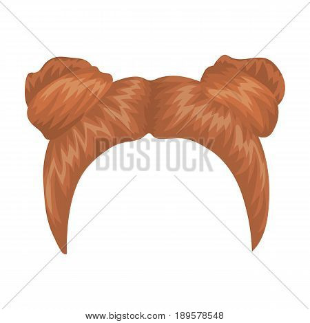 Red with two bobbins.Back hairstyle single icon in cartoon style vector symbol stock illustration .