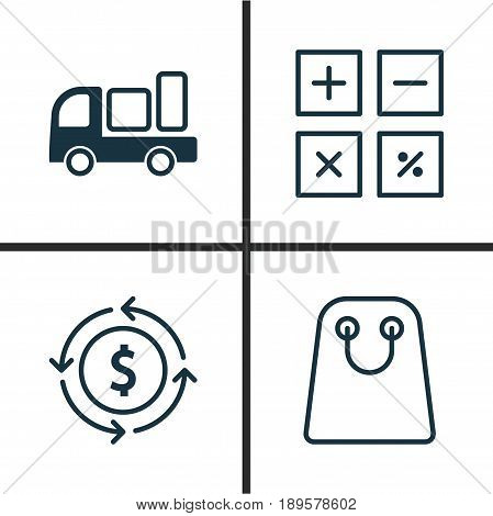 Ecommerce Icons Set. Collection Of Delivery, Tote Bag, Calculation Tool And Other Elements. Also Includes Symbols Such As Compute, Trade, Delivery.