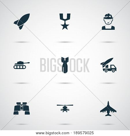 Battle Icons Set. Collection Of Aircraft, Missile, Chopper And Other Elements. Also Includes Symbols Such As Soldier, Panzer, Gong.