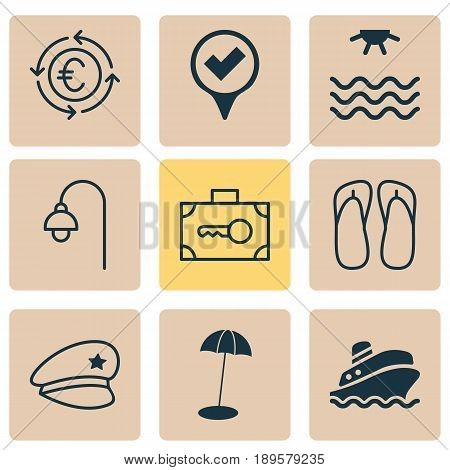 Tourism Icons Set. Collection Of Checked Pointer, Cop Hat, Security Baggage And Other Elements. Also Includes Symbols Such As Cop, Recycle, Thong.