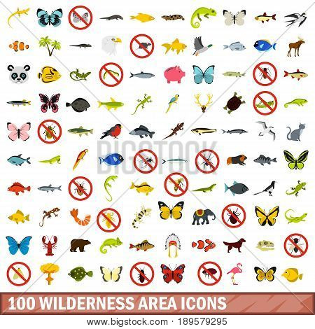 100 wilderness area icons set in flat style for any design vector illustration