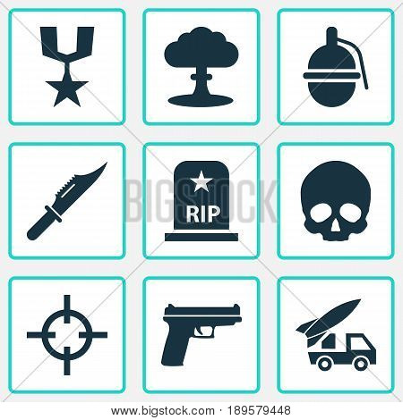 Army Icons Set. Collection Of Bombshell, Cutter, Rip And Other Elements. Also Includes Symbols Such As Cutter, Grave, Skull.