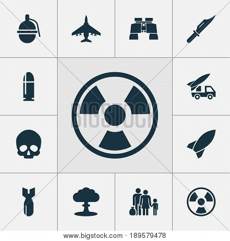 Battle Icons Set. Collection Of Rocket, Fugitive, Dangerous And Other Elements. Also Includes Symbols Such As Binoculars, Cranium, Fighter.