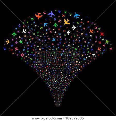 Jet Plane salute stream. Vector illustration style is flat bright multicolored iconic symbols on a black background. Object stream fountain made from random symbols.