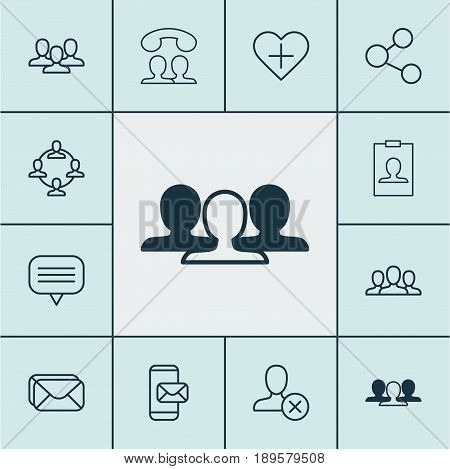 Communication Icons Set. Collection Of Society, Identity Card, Ban Person And Other Elements. Also Includes Symbols Such As Group, Communication, Audence.