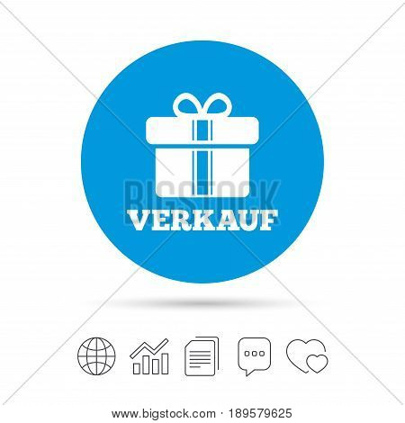 Verkauf - Sale in German sign icon. Gift box with ribbons symbol. Copy files, chat speech bubble and chart web icons. Vector