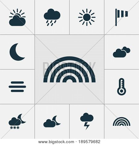 Air Icons Set. Collection Of Sun, Colors, Temperature And Other Elements. Also Includes Symbols Such As Rain, Vane, Temperature.