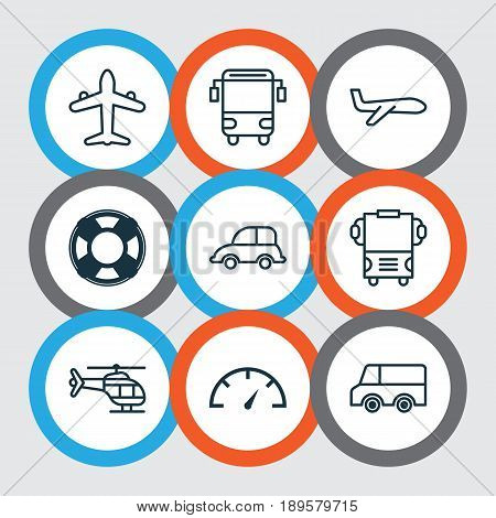 Transportation Icons Set. Collection Of Air Transport, Lifebuoy, College Transport And Other Elements. Also Includes Symbols Such As Transport, Speedometer, Car.