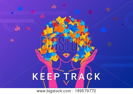Keep track concept illustration of pretty woman addicted to likes and comments in social networks. Modern gradient landscape design of woman with hair full of thumb up symbols