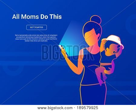 All moms do this. Young mom with baby using smartphone for social networking, reading news, watching video, searching internet. Modern gradient thin line vector illustration of young mothers lifestyle