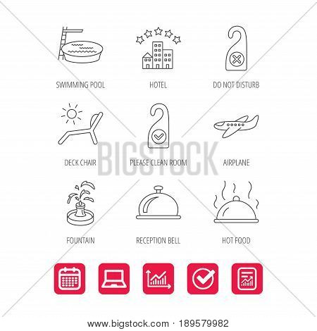 Hotel, swimming pool and beach deck chair icons. Reception bell, restaurant food and airplane linear signs. Do not disturb and clean room flat line icons. Vector