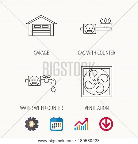 Ventilation, garage and water counter icons. Gas counter linear sign. Calendar, Graph chart and Cogwheel signs. Download colored web icon. Vector