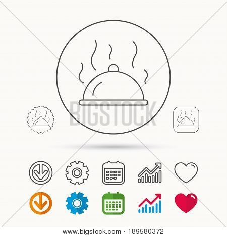 Restaurant cloche platter icon. Hot food sign. Calendar, Graph chart and Cogwheel signs. Download and Heart love linear web icons. Vector