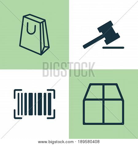 E-Commerce Icons Set. Collection Of Identification Code, Cardboard, Gavel And Other Elements. Also Includes Symbols Such As Packet, Box, Auction.