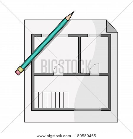 House plan.Realtor single icon in cartoon style vector symbol stock illustration .