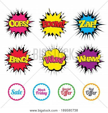 Comic Wow, Oops, Boom and Wham sound effects. Sale icons. Best special offer symbols. Black friday sign. Zap speech bubbles in pop art. Vector