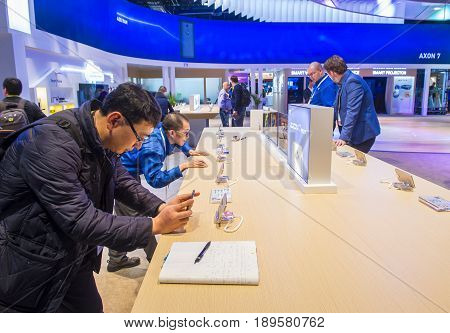LAS VEGAS - JAN 08 : The ZTE booth at the CES show held in Las Vegas on January 08 2017 CES is the world's leading consumer-electronics show.