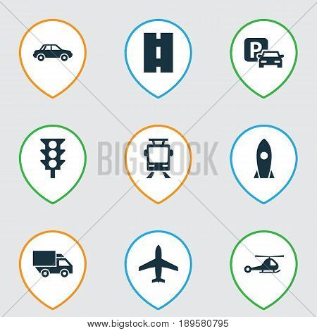 Shipment Icons Set. Collection Of Automobile, Spaceship, Road Sign And Other Elements. Also Includes Symbols Such As Tram, Truck, Sign.