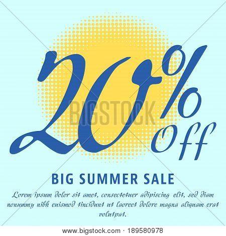 20 percent Off - big summer sale template. Colorful promotional banner or poster design. Vector Illustration.