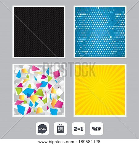 Carbon fiber texture. Yellow flare and abstract backgrounds. Sale speech bubble icons. Two equals one. Black friday sign. Big sale shopping bag symbol. Flat design web icons. Vector