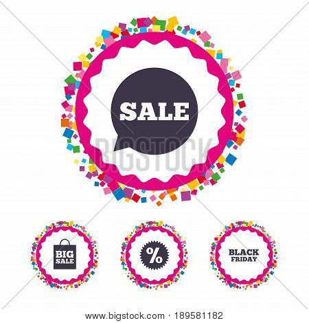 Web buttons with confetti pieces. Sale speech bubble icon. Discount star symbol. Black friday sign. Big sale shopping bag. Bright stylish design. Vector