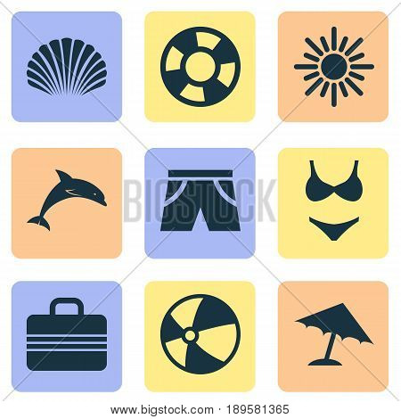 Sun Icons Set. Collection Of Balloon, Parasol, Baggage And Other Elements. Also Includes Symbols Such As Boat, Valise, Sun.