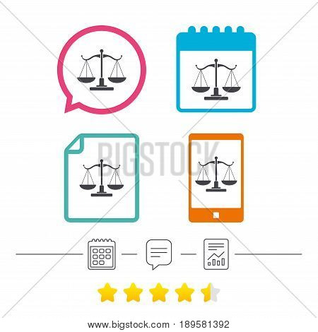 Scales of Justice sign icon. Court of law symbol. Calendar, chat speech bubble and report linear icons. Star vote ranking. Vector