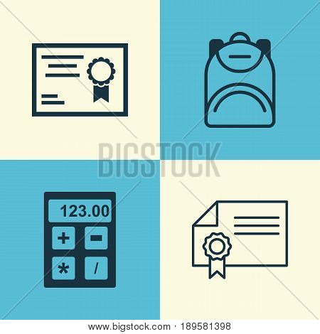 Education Icons Set. Collection Of Electronic Tool, Diploma, Certificate And Other Elements. Also Includes Symbols Such As Diploma, Ribbon, Backpack.