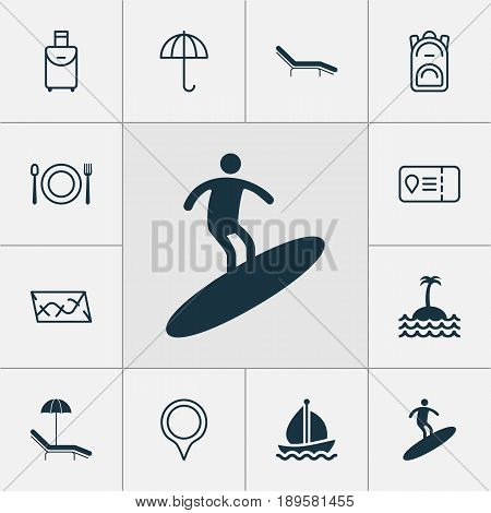 Travel Icons Set. Collection Of Sail Ship, Chaise Longue, Eating And Other Elements. Also Includes Symbols Such As Ship, Man, Surfboard.