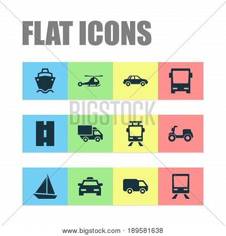 Shipment Icons Set. Collection Of Way, Skooter, Chopper And Other Elements. Also Includes Symbols Such As Wagon, Ship, Airplane.
